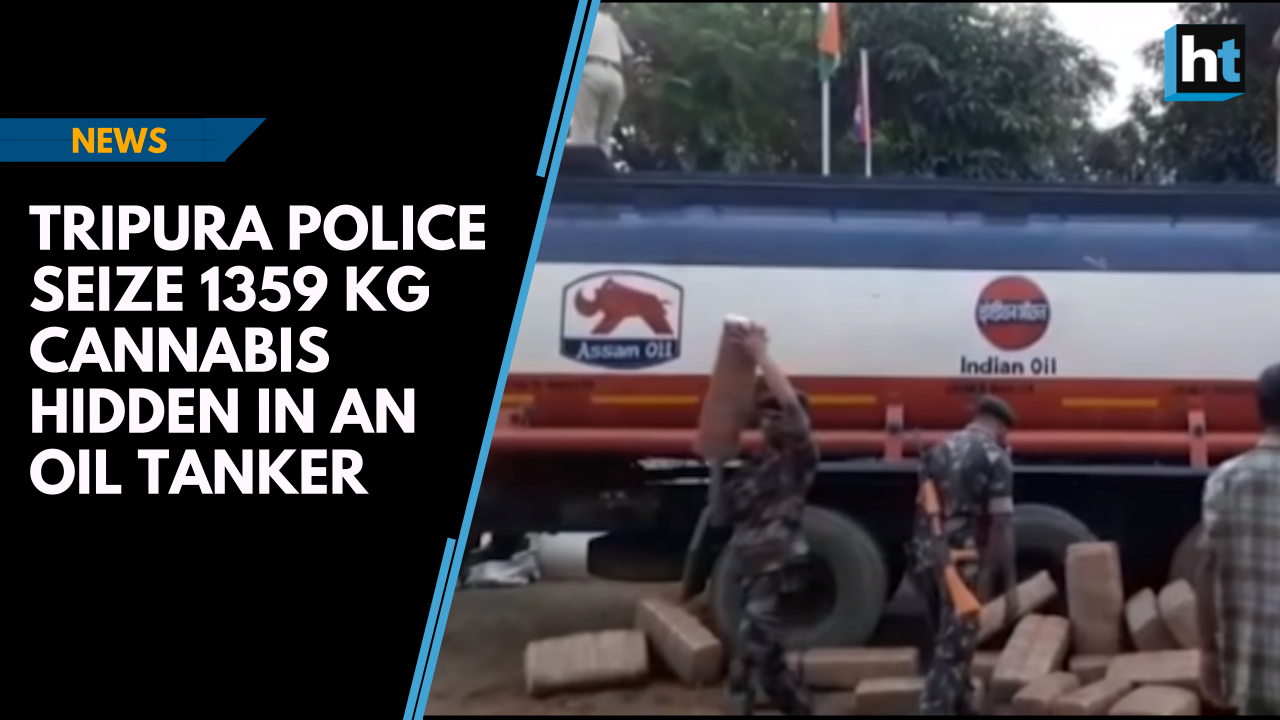 Tripura police seize 1359 kg cannabis hidden in an oil tanker
