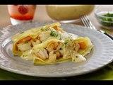 Crepas de Camarón en Salsa de Queso | Crepas rellenas de CAMARONES