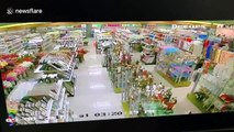 CCTV footage shows supermarket items flying as earthquake hits Philippine province