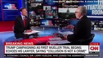 BREAKING NEWS TRUMP CAMPAIGNING AS FIRST MUELLER TRIAL BEGINS ECHOES HIS LAWYER SAYING COLLUSION IS NOT A CRIME
