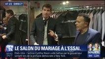 A l'occasion du salon du mariage, Stefan Etcheverry teste le costume de marié