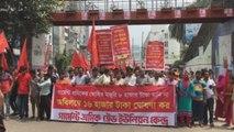 Cientos de trabajadores del textil bangladesí protestan nuevo salario mínimo
