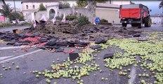 Drôme : en colère, des agriculteurs déversent des fruits devant la préfecture à Valence