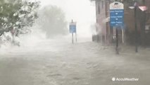 Florence whips water up from the streets of New Bern, North Carolina