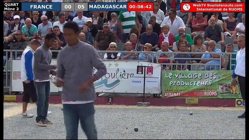 International à pétanque de Ruoms 2018 : Quart de finale FRANCE vs MADAGASCAR le contre qui tue !
