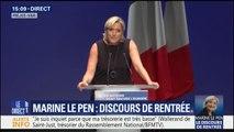 """Marine Le Pen: """"À l'heure où tout le monde fait sa rentrée, Emmanuel Macron fait sa sortie (...) Il rame"""""""