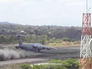 C-5 Ends Up On Short Dirt Airfield, Now Has To Take Off
