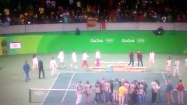 Rafa Nadal se enfadó en el podio al ver una bandera estelada en la entrega de medallas