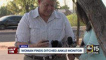 Woman finds ankle monitor ditched at gas station