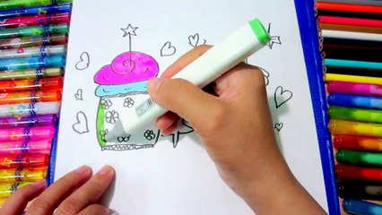 How to Draw Birthday Cake, Cupcake and Coloring Pages for Kids