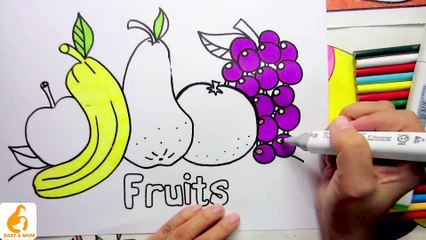 Coloring pages fruits and how to draw for kids fun clip for children