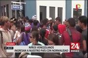 Tumbes: niños venezolanos llegan a frontera acompañados de vecinos o familiares