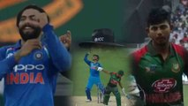 India VS Bangladesh Asia Cup 2018: Ravindra Jadeja removes Mosaddek Hossain for 12| वनइंडिया हिंदी