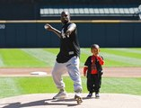 Kanye West Throws First Pitch at Baseball Game in Chicago