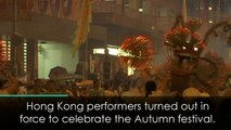 Mesmerising fire dragon lights up Hong Kong