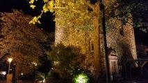 Die Burg Klopp in Bingen am Rhein bei Nacht