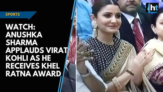 Watch: Anushka Sharma applauds Virat Kohli as he receives Khel Ratna Award