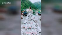 Talented woman uses 40 cement bags to make beautiful wedding dress