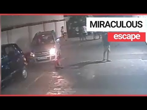 Kid unharmed after run over by car | SWNS TV