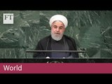 Iranian president slams the US for its hostile stance towards his country