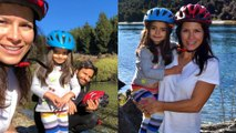 Alessandra Rosaldo, Eugenio Derbez y su hija Aitana de paseo en bici por Nueva Zelanda