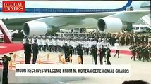 【Video】North Korean leader Kim Jong-un greets South Korean President Moon Jae-in with a welcome ceremony at Pyongyang Sunan International Airport. #interKoreans
