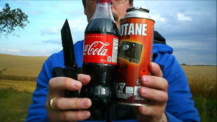 slow motion 37.coke cola and butane dose it make a rocket launch?