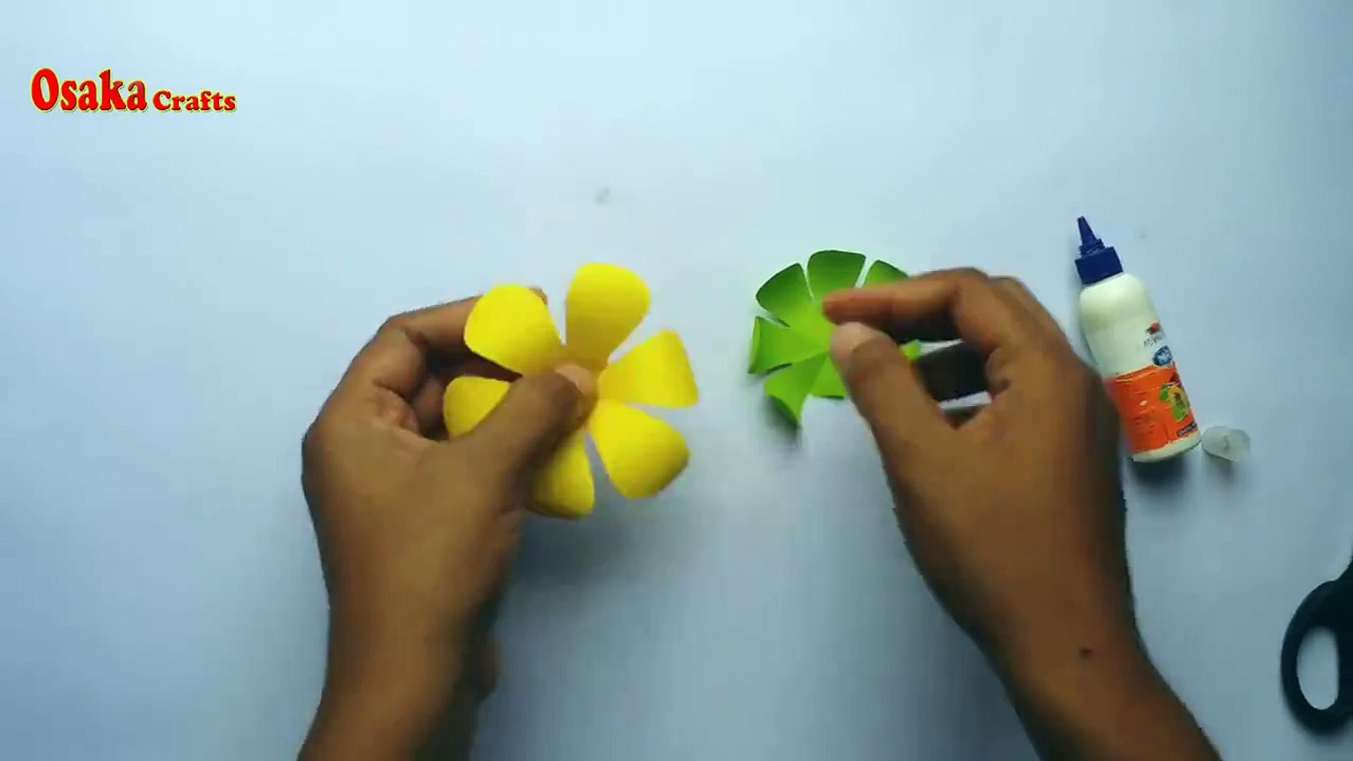 DIY home decor - DIY: Paper Flower!!! How to Make Beautiful Flower Stick with Colour Paper!!! Home D