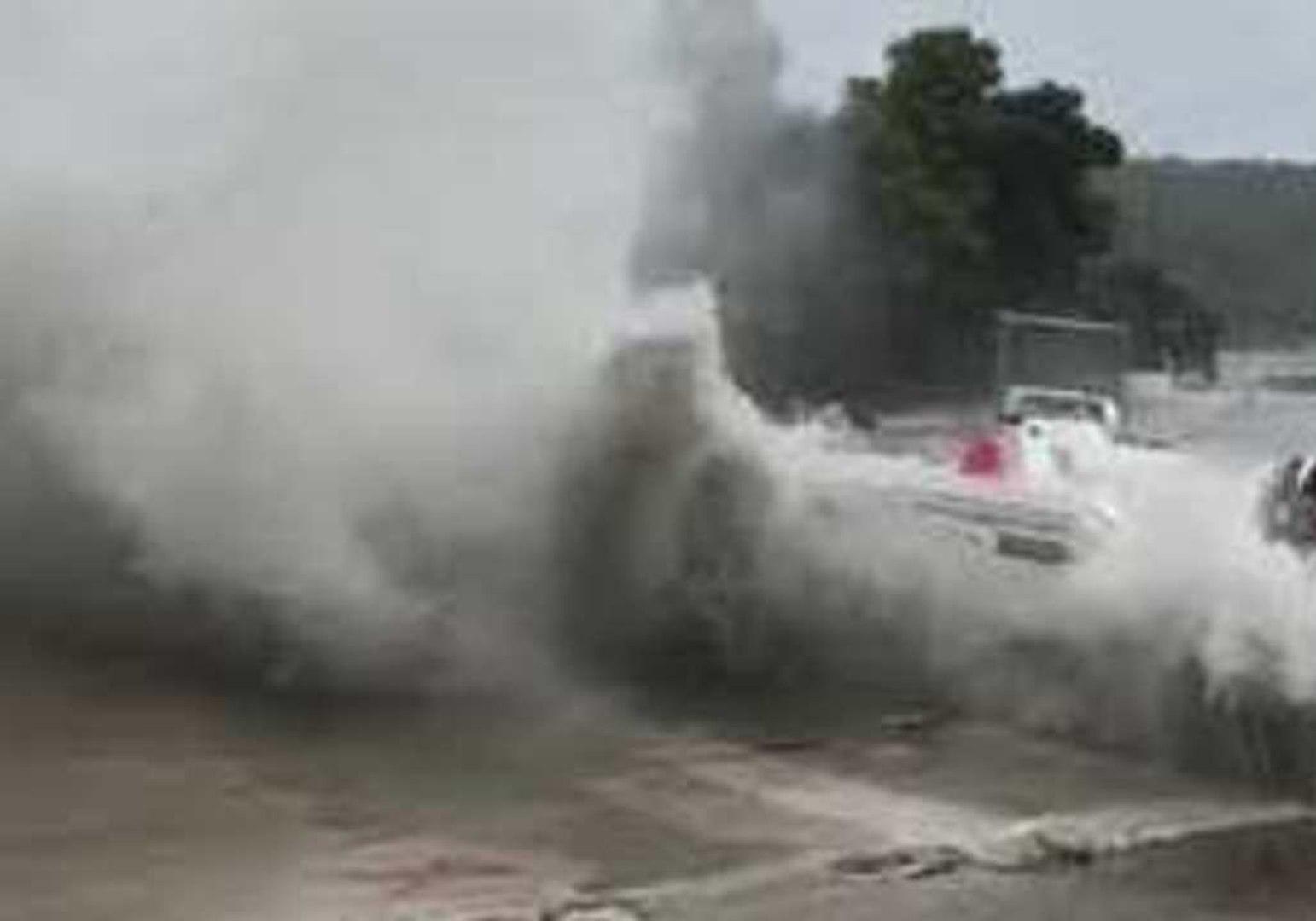 Waves Toss Boat Onto Shore as Cyclone Zorbas Batters Greek Coast