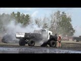 Truck Catches Fire During Mud Bogging Competition