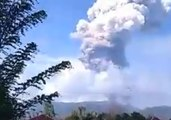 Ash Cloud Billows from Soputan Volcano After Eruption on Sulawesi Island, Indonesia
