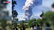 Endonezya'da deprem bölgesinde yanardağ patladı