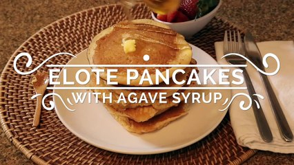 Elote Pancakes With Agave Syrup