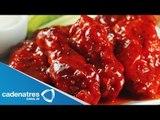 Receta para preparar muslos de alitas de pollo en bbq de chile ancho. Receta de muslos