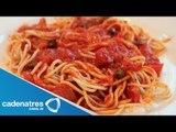 Receta para preparar pasta y pesto de jitomates rostizados. Receta de pasta / Receta de pesto