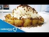 Receta de manzanas pochadas con helado de yogurt. Postres fáciles / Postres mexicanos