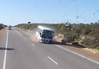 Lucky Escape as Car Attempting to Overtake Smashes Into Oncoming Bus