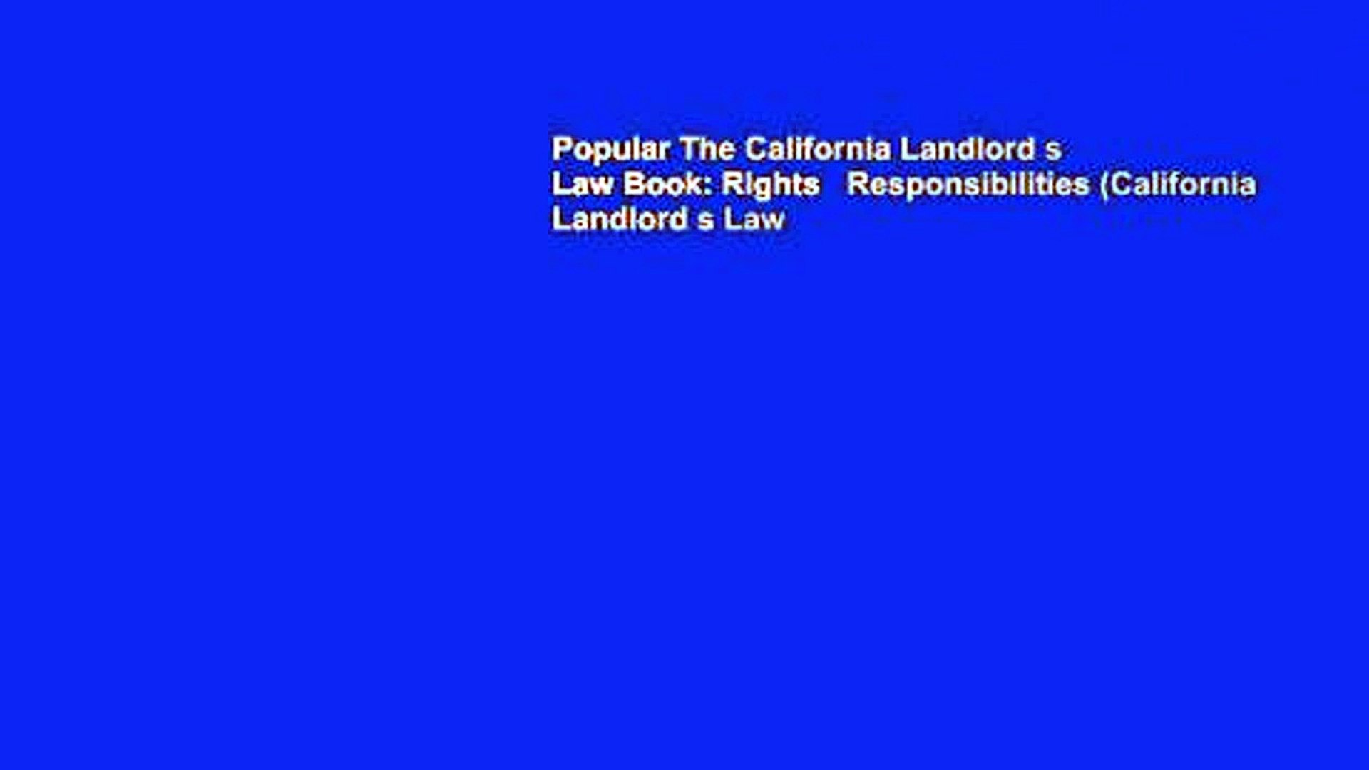 Popular The California Landlord s Law Book: Rights   Responsibilities (California Landlord s Law