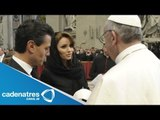 Angélica Rivera y sus hijas saludan al Papa Francisco / Angelica Rivera greet the Pope Francisco