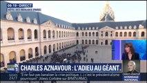 La famille et les amis de Charles Aznavour arrivent aux Invalides pour l'hommage national