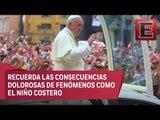 Cálida bienvenida al papa Francisco a su llegada a Trujillo, Perú
