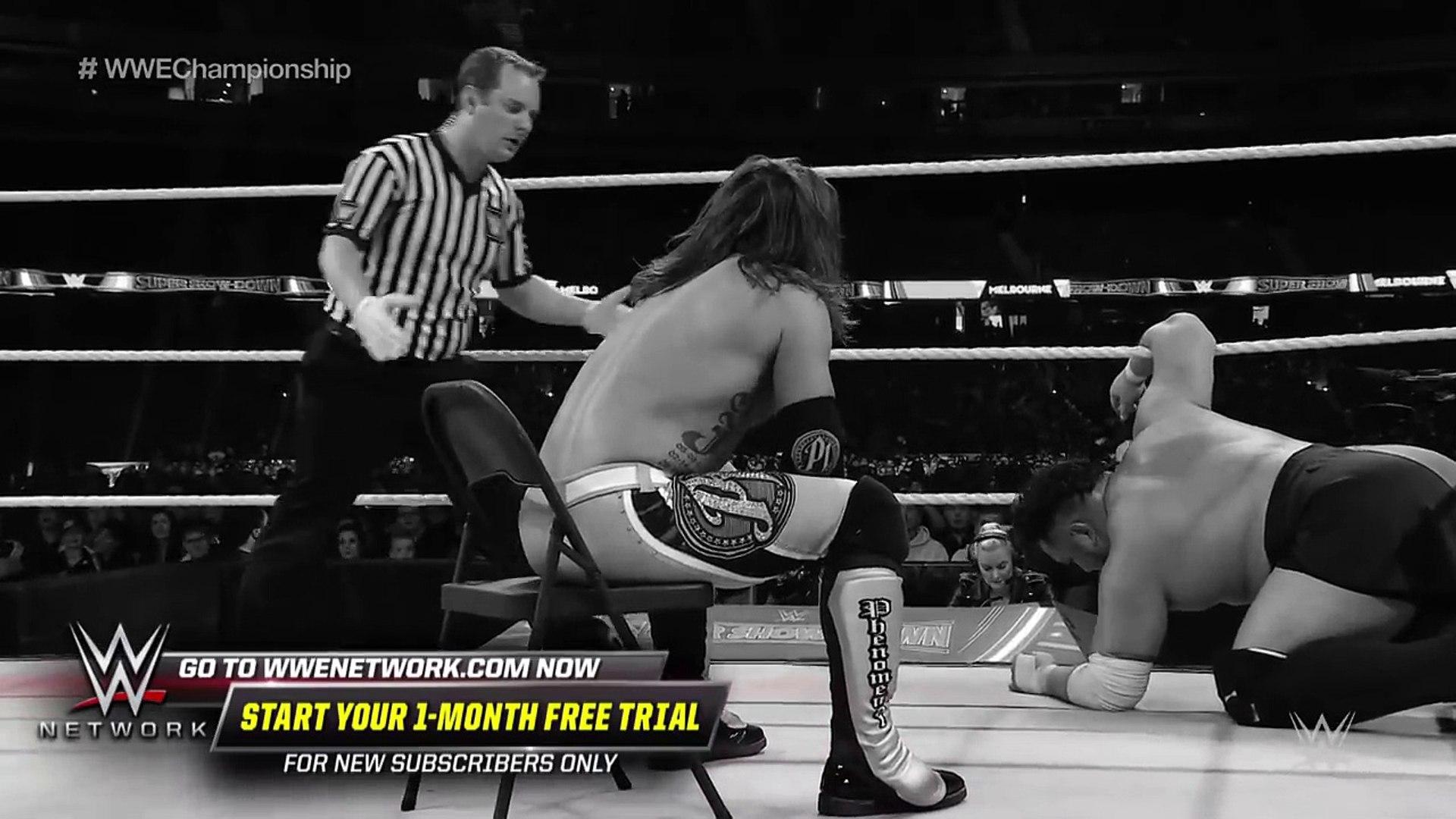 Samoa Joe smashes AJ Styles through a steel chair- WWE Super Show-Down 2018 (WWE Network Exclusive)