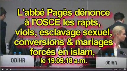 L'abbé Pagès dénonce à l'OSCE les rapts, viols, esclavage sexuel & mariages forcés en islam