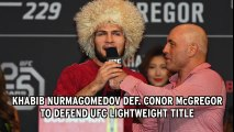 Khabib Nurmagomedov defeats Conor McGregor at UFC 229