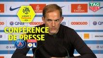 Conférence de presse Paris Saint-Germain - Olympique Lyonnais (5-0) : Thomas TUCHEL (PARIS) - Bruno GENESIO (OL) / 2018-19