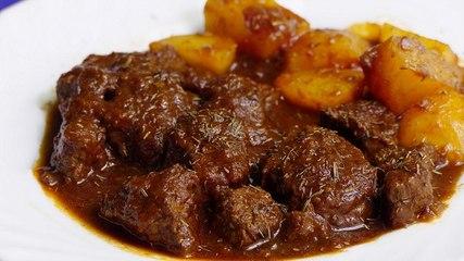 GUISO DE TERNERA EN SALSA CON PATATAS - Que viva la cocina