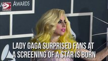 Lady Gaga suprised fans at a screening of a star is born