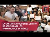 Thalía canta 'Cielito Lindo' y empaqueta víveres en Nueva York