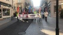 Les syndicats CGT, FO, Solidaires et FSU ont manifesté contre la politique d'Emmanuel Macron