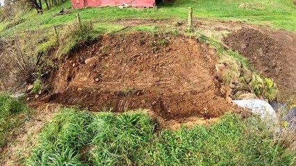 Creek Dredging - Filling Washout with Excavator